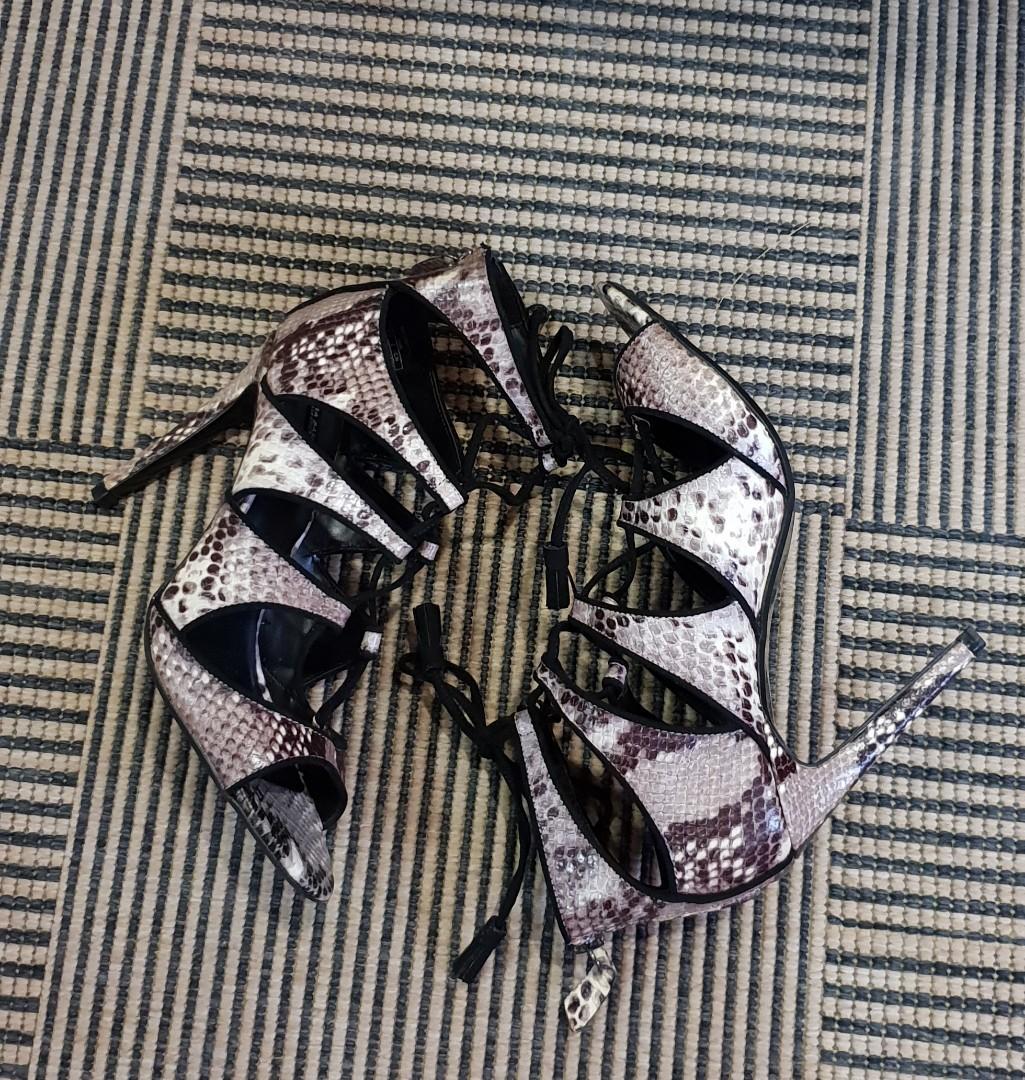 4518679570e Zara Snakeskin Lace Up Heels on Carousell