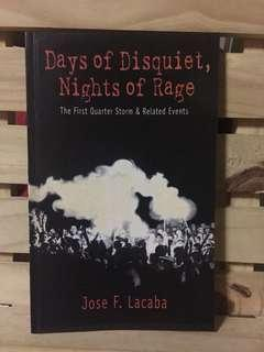 Days of Disquiet, Nights of Rage: The First Quarter Storm and Related Events by Jose F. Lacaba