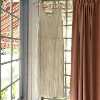Brand New White Long Slip Dress with Pleated Skirt