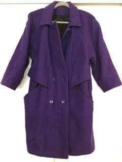 Vintage Purple Wool Coat Size 36