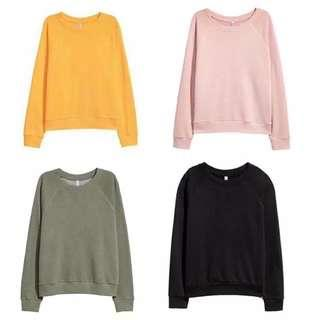 H&M sweetshirt (pink/army/black)