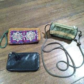 3 wallets/mini-purses in 3 designs (set)