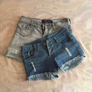 2 for 150 demin ripped shorts