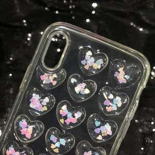 Transparant Hologram Heart Soft Case for iPhone X