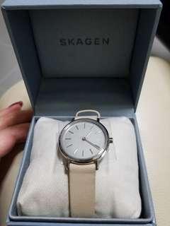 SKAGEN 真皮手錶