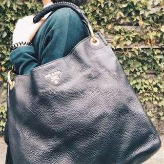 🚚 PRADA  真皮肩背包/手拿包 (黑色)  BR4829  Vitello Daino Leather Tote Bag