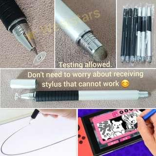 2 in 1, Writing Drawing illustration Fine Precision Pencil Touch Screen Stylus Pen & Capacitive Mesh - For Apple iPad, iPhone, Samsung, Android, Tablet, Nintendo Switch and all other brands touch screen (great for Christmas gift)