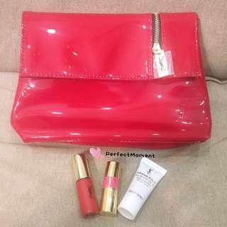 YSL lipstick + foundation sample & red pouch