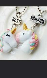 Unicorn Friendship Necklace BFF Chain Best Pendant Little Horse