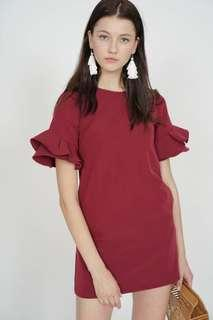 MDS Flared-Sleeved Dress in Oxblood  Size S
