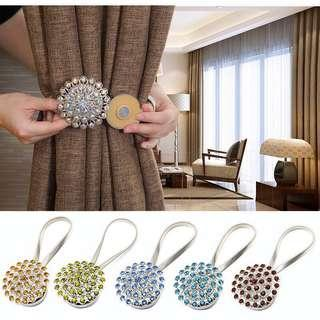 [PO] Crystal Flower Magnetic Curtain Buckle Tieback Clips