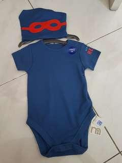 Mothercare Blue Bodysuit set with hat size 9-12monts