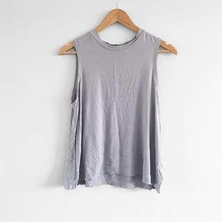 Steel blue cotton muscle tank