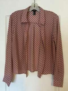 Forever 21 Pink and black polka dot shirt. Size M, Medium Ladies/Girls/Teens. Brand new! Never worn!