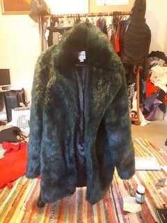 Forest green fluffy faux fur jacket