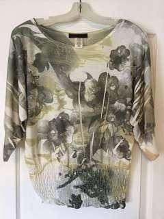 Grey/black/light yellow floral scoop-neck 3/4 length sleeve top. Size S,small. Women's/Ladies/Girls/Teens. Never worn.