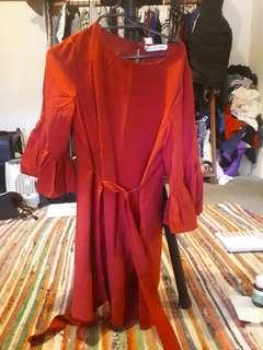 Red Atmos & Here frill sleeve smock dress