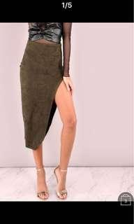 Green suede high slit skirt