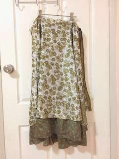 Tree of Life Long Floral Wrap Skirt