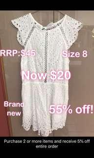 White open back playsuit