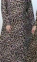 Gamis long maxi dress leopard