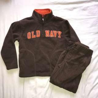 Old Navy Bear Brown Fleece Set (Sweater + Pants)