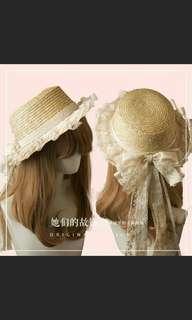 蕾絲邊草帽