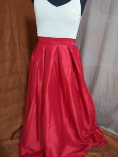 Red satin formal maxi skirt (perfect for prom!)
