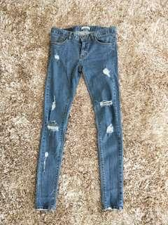 Low Waist Blue Ripped Jeans