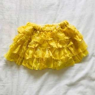 Yellow Floral Lace Tutu Shorts