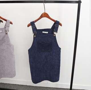 🚚 •INSTOCK• Navy blue velvet Pinafore overall dress