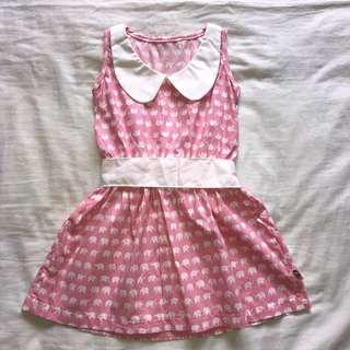 Pink Peter Pan Collar Elephant Print Dress