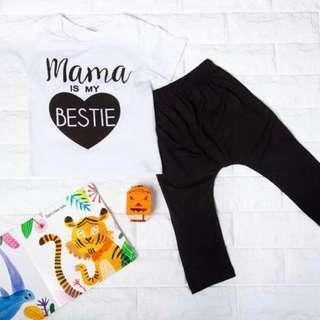 🚚 Instock - 2pc mama is my bestie Set, baby infant toddler girl boy