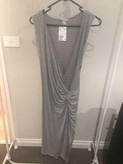 Wrap around style grey dress