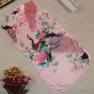 🚚 Instock - baby pink satin cheongsam dress, baby infant toddler girl