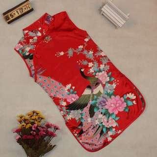 🚚 Instock - red satin cheongsam dress, baby infant toddler girl