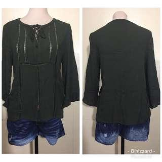 Cotton On Green 3/4's blouse