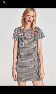 Zara Checkered Embroidery Dress/ Top
