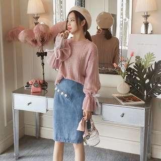 全新 通花喱士網紗蝴蝶結手袖冷衫 sweater