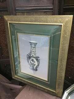 單面綉花瓶一對