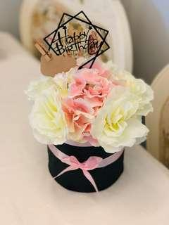 Korean style Birthday flower in box (artificial flowers)