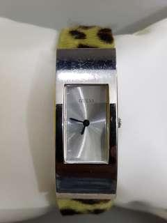 Guess Watch for ladies with leopard print strap - furry feel