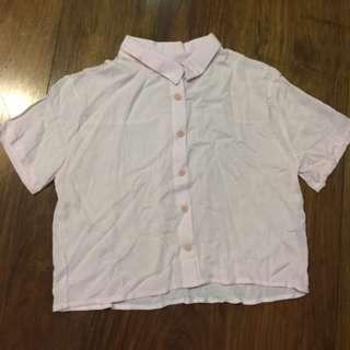 Pink Button-down Crop top