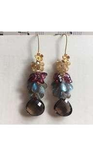 Gion- Smoky Quartz Labradorite Garnet Citrine OOAK 14k Gold Filled Earrings