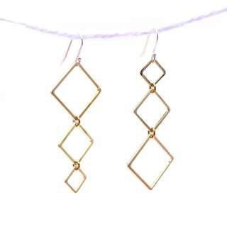 🚚 [Christmas Sales]Tigarpaws Geometric dangling earring, rhombus shape, fashion earring, ea003, silver, fashion alloy