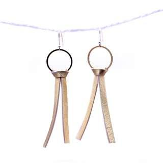 🚚 [Christmas Sales]Gold Leather dangling earring, round metal, fashion earring, ea004