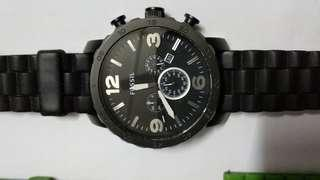 Authentic Black Fossil Nate Chrono