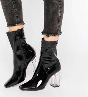 CHLOE CLEAR PERSPEX HEELED ANKLE BOOTS IN BLACK