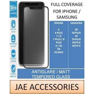 FULL Coverage AntiGlare Tempered Glass for Iphone Samsung