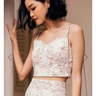 FASHMOB Tara Crochet Top in White